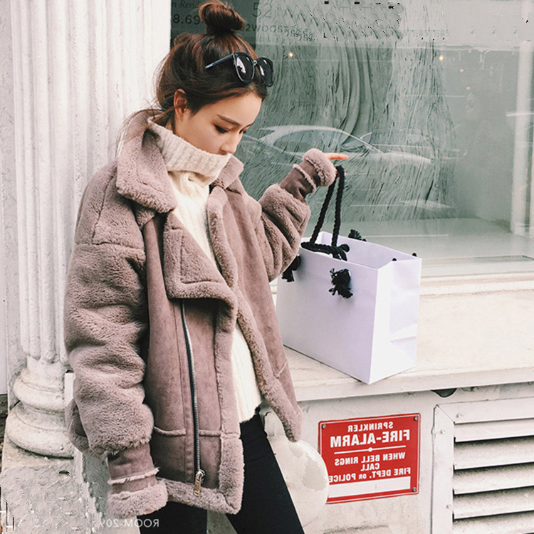 Women Winter Oversize Thick   suede     Leather   Lamb Jacket Motorcycle