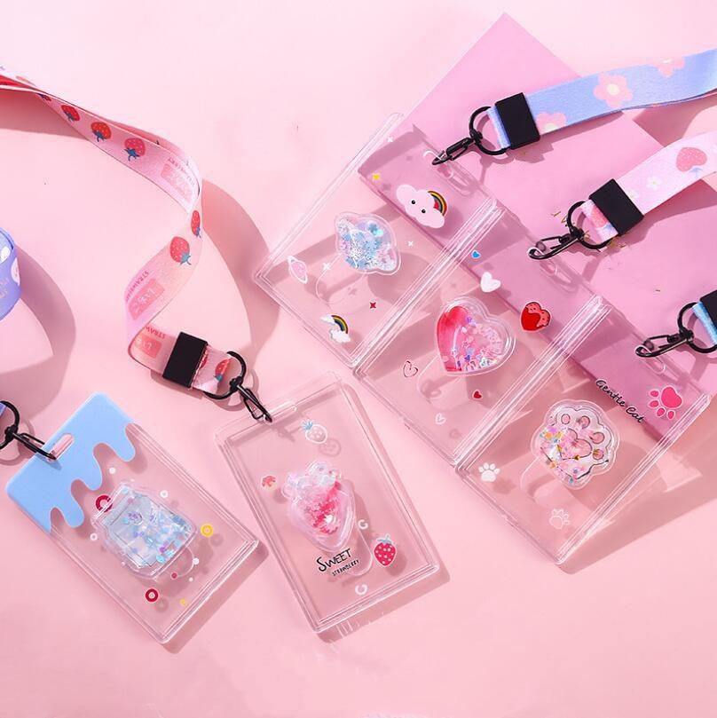 Transparent Plastic Card Holders Stationery Bank ID Card Bus Holder Case Bag