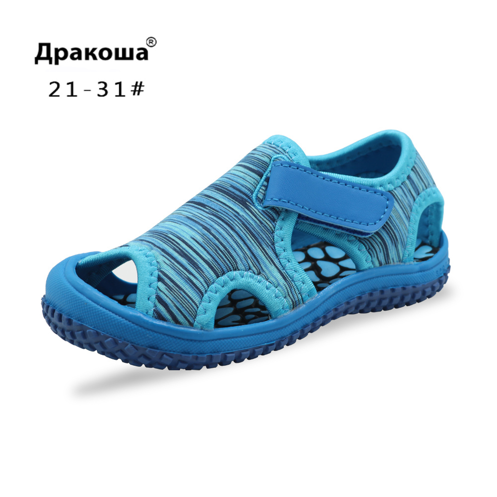 Apakowa Kids Boys Girls Sandals Hook & Loop Adjustable Breathable Sandals Summer Beach For Toddler Shoes Outdoor Walking Shoes