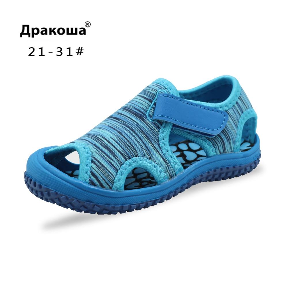 Apakowa Kids Boys Girls Sandals Hook & Loop Adjustable Breathable Sandals Summer Beach For Toddler Shoes Outdoor Walking Shoes
