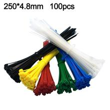 100Pcs Self-Locking Useful Nylon Plastic Wire Cable Cord Zip Ties Binding Strap Durable Bright Color Easy to Use Self-locking