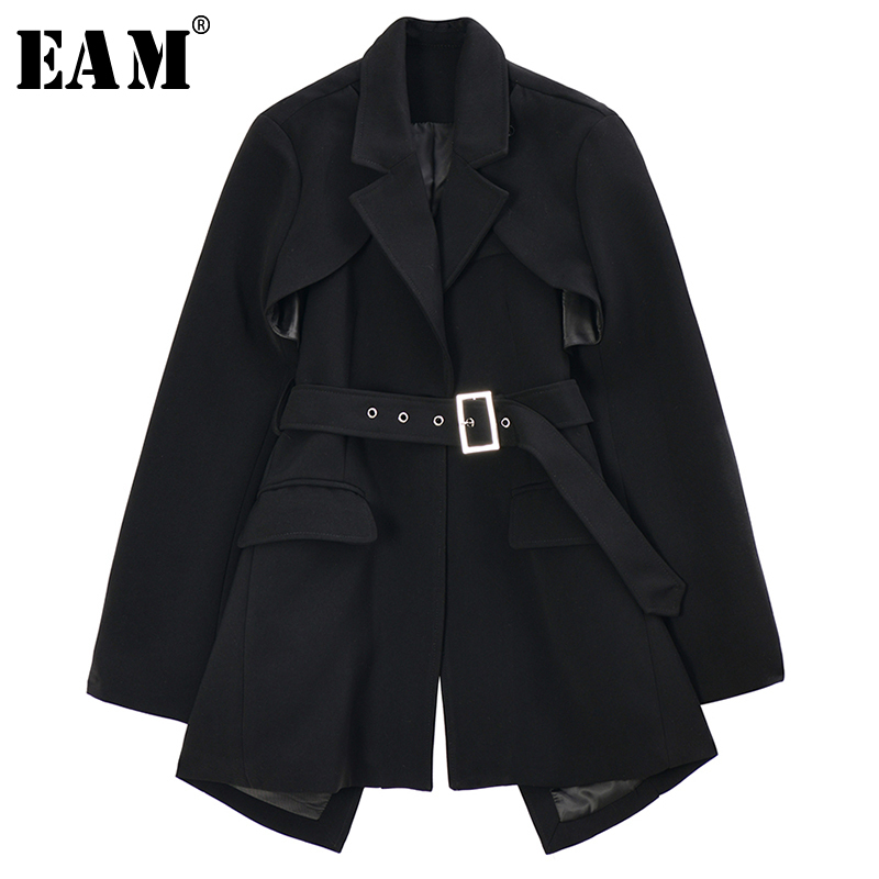 [EAM]  Women Black Asymmetrical Hollow Out Blazer New Lapel Long Sleeve Loose Fit  Jacket Fashion Tide Spring Autumn 2020 1R742