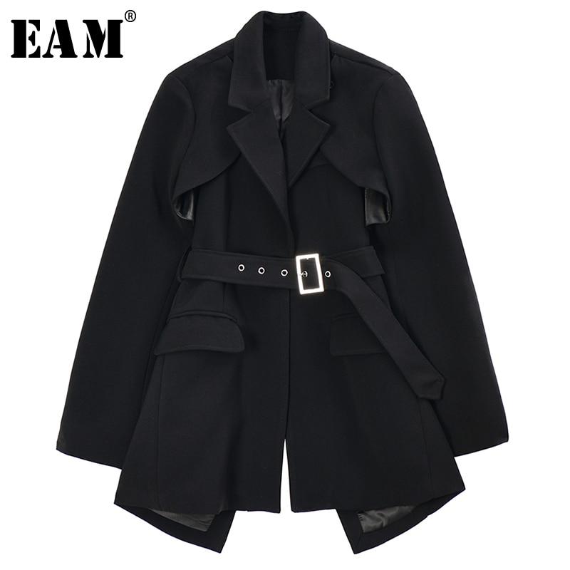 [EAM]  Women Black Asymmetrical Hollow Out Blazer New Lapel Long Sleeve Loose Fit  Jacket Fashion Tide Spring Autumn 2020 1R742
