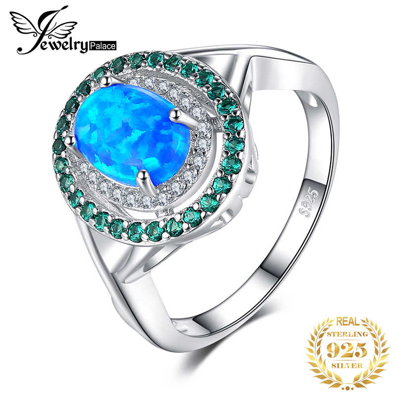 JewelryPalace Moda 1.2ct Oval Criado Opal Embutimento Esmeralda Cocktail Anel Genuine 925 Prata Esterlina Jóias Vintage Para As Mulheres