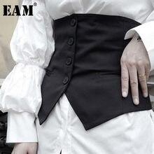 [EAM] noir irrégulière bouton bande longue large ceinture personnalité femmes nouvelle mode marée tout-match printemps automne 2021 1W293