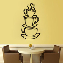 Three coffee cups painting wall stickers creative kitchen dining room home decoration carved wall stickers home decor