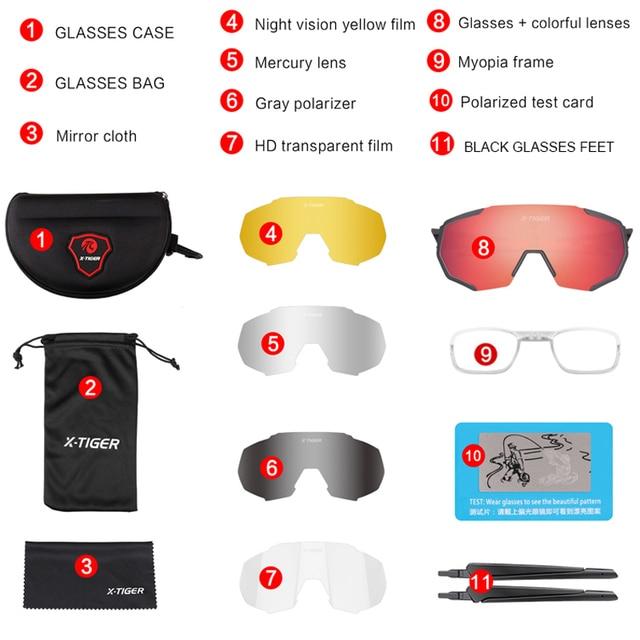 X TIGER Polarized 5 Lens Cycling Glasses Road Bike Cycling Eyewear Cycling Sunglasses MTB Mountain Bicycle
