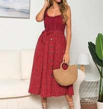 Женское летнее хлопковое платье в горошек с оборками
