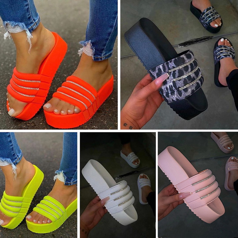 2020 Summer Women Platform Bath Slippers Wedge Sandals Beach Slippers Calzado Mujer Women's Slippers Fashion Casual Water Drill