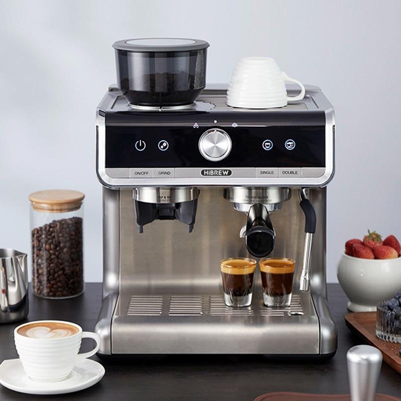 HiBREW  Barista Pro 19Bar Conical Burr Grinder Bean to Espresso  Commercial Level Espresso Maker Full Kit Cafe Hotel Restaurant 5