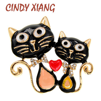 CINDY XIANG Double Cat Brooches For Women Enamel Fashion Animal Pin Brooch Kids Cute Jewelry Winter Accessories High Quality cindy xiang blue shark brooch women and men brooch pin unisex enamel brooches vivid animal jewelry badages fashion accessories