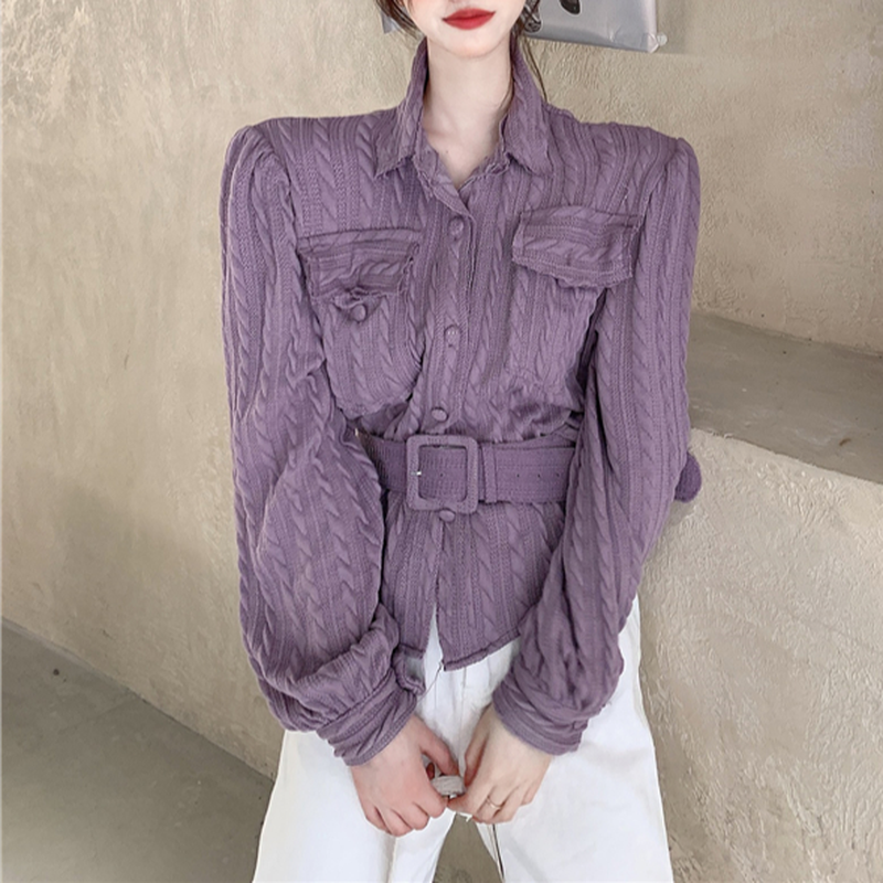 Ezgaga Bandage Shirts Women Elegant Chic Turn-Down Collar Pockets Solid Long Sleeve Korean Tops Office Lady Fashion Blusas 7