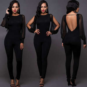 Party Jumpsuit Clubwear long rG ROM Long-Sleeve Backless Sexy Women Ladies New-Fashion
