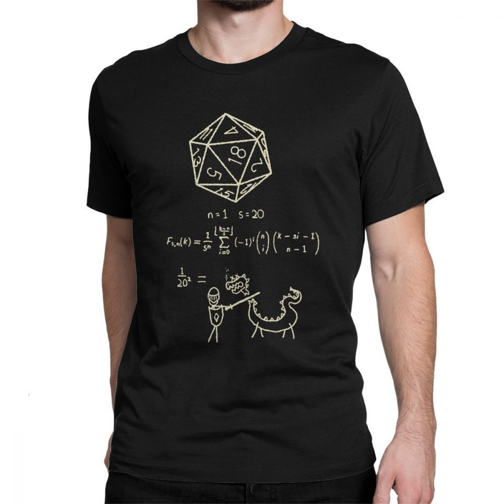 One Yona The Science Of 20 Sided Dice T Shirt Men D20 Math DnD Dungeons And Dragons Clothes Popular T-Shirt Crewneck 100% Cotton
