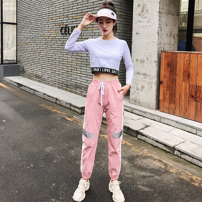 Suit Female Summer 2019 New Lady Pants Slim Casual Gym Reflective Fun Run Fitness Clothing