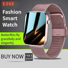 LIGE New Smart watch Women Full touch screen Sports Fitness watch IP67 waterproof Ladies Smart watch Bluetooth for Android iOS