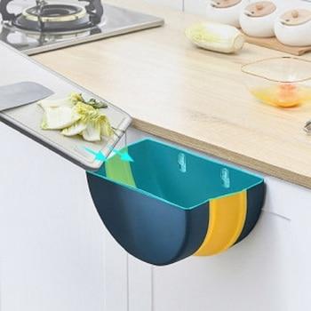 Foldable Garbage Bin Trash Can Bin Wall Mounted Bathroom Waste Storage Foldable Cute House Baskets Cleaning Tool