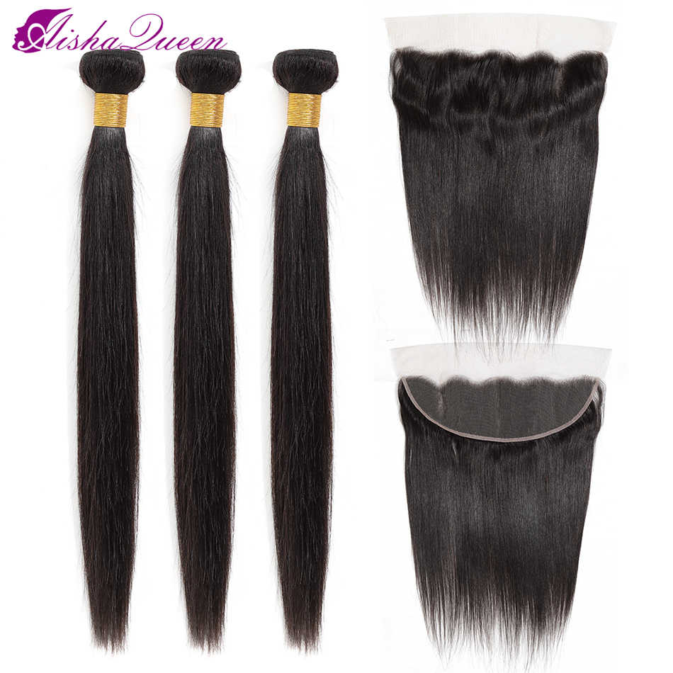 Aisha Queen Straight Hair Bundles With Frontal 13*4 Medium Brown Lace Color Non-Remy Brazilian Human Hair Bundles With Frontal