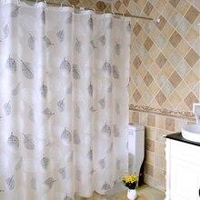 EHOMEBUY2019 Shower Curtain White Black Leaf Waterproof Mildewproof Translucent Thicker PEVA For Bathroom Room