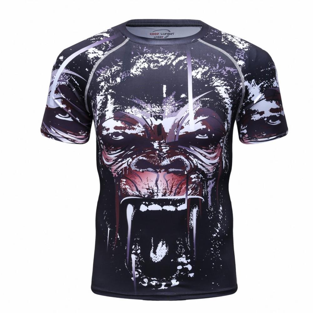 Compressão dos Homens T-shirt o Pescoço Cool Black Design Padrão Animal T-shirt Esportes Fitness Elástico-secagem Rápida Execução Montagem