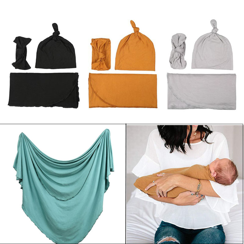 3 Pcs/set Maternal And Child Supplies Baby Swaddle Newborn Wrap Cap Headband Photography Photo Props Blanket Hat