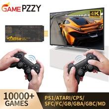 Console de jogos de vídeo hd embutido 10000 jogos clássicos 4k tv retro console de jogos controlador sem fio duplo para ps1/cps