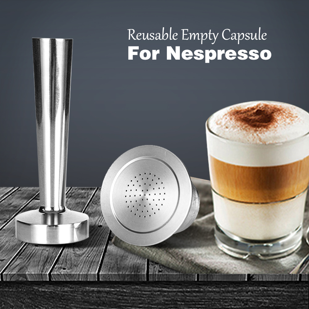 Nespresso Refillable Capsule Stainless Steel Coffee Inox Cafe Permanent Coffee Filter Tamper Coffeeware For Nespresso Machines