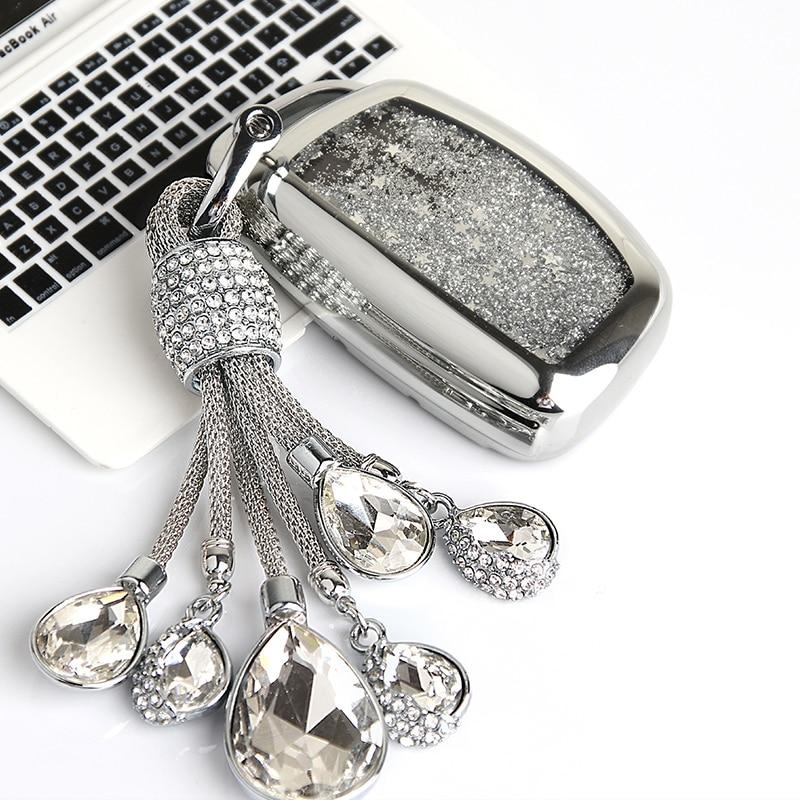 Quicksand TPU Car Key Case Cover For Hyundai Tucson Creta Ix25 I10 I20 I30 Verna Mistra Elantra 2015-2018 Car Styling Keychain