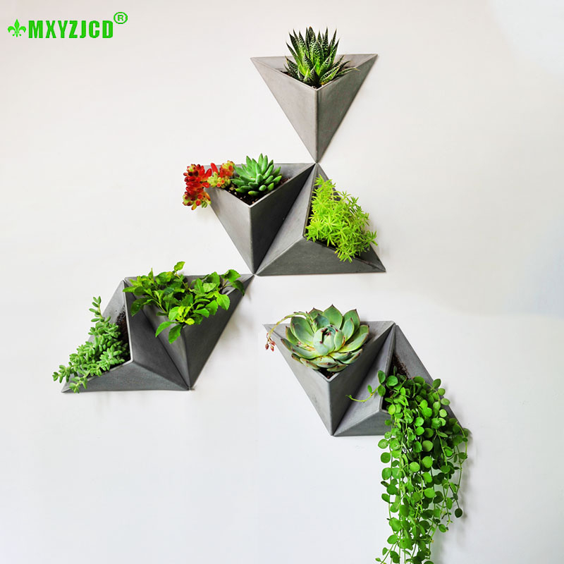 Wall-mounted Cement Flower Pot Office Wall Simulation Plant Decoration Triangle Retro Flower Arrangement Container