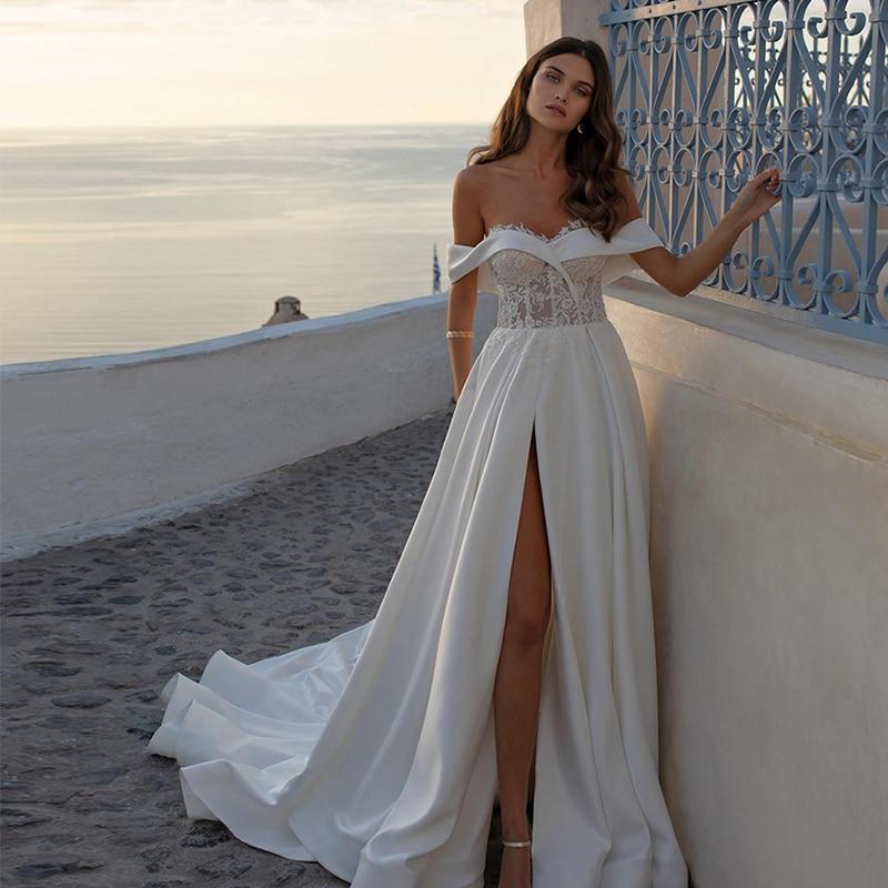 Verngo A Line Wedding Dress Ivory Stain Lace Off The Shoulder Bride Dress Elegant Backless Wedding Gowns 2020