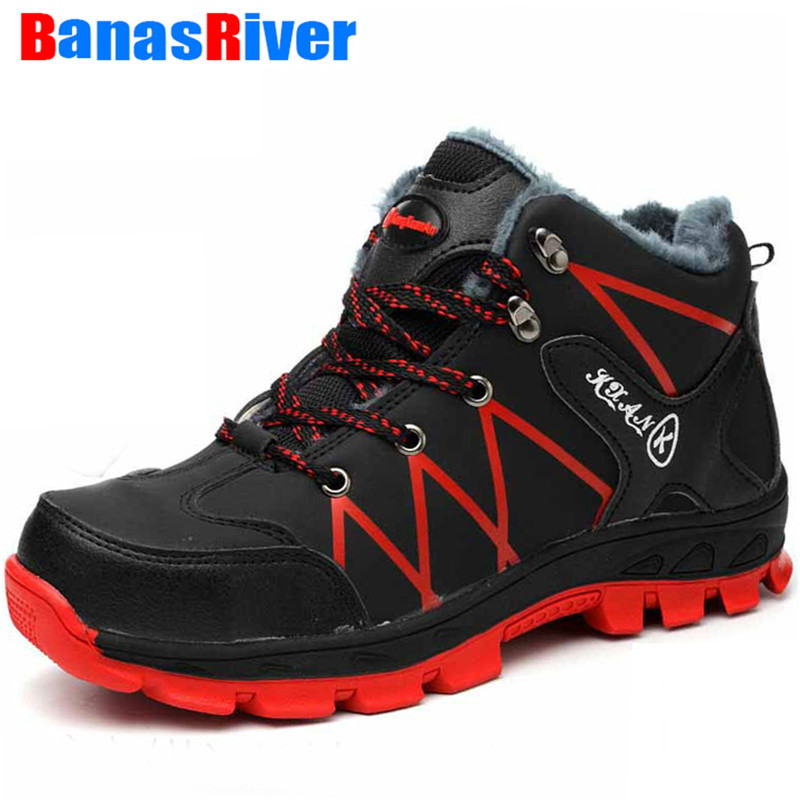 Winter Warm Fur Plush Safety Shoes Boots for Men Outdoor Casual Snow Warm Fur Work Indestructible Boots Steel Toe Men's Footwear