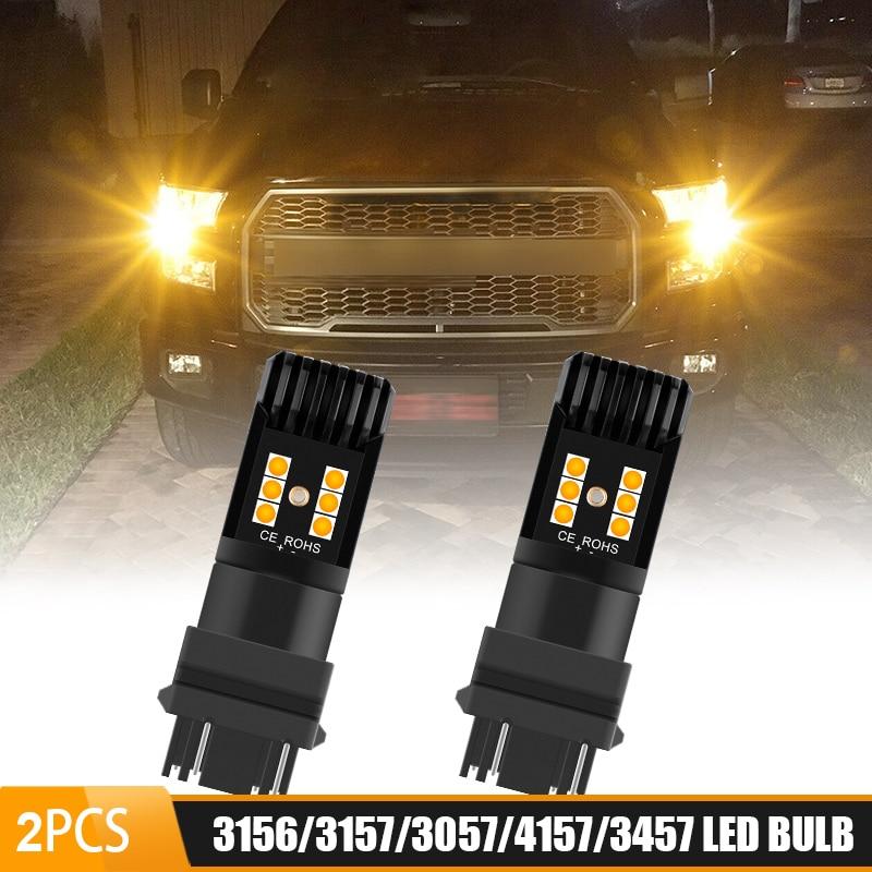 3156, 3157, 4157, 4057 T25 amarillo ámbar luces LED de señal de giro bombillas 12V luz trasera de freno luz de estacionamiento para JEEP ford F150