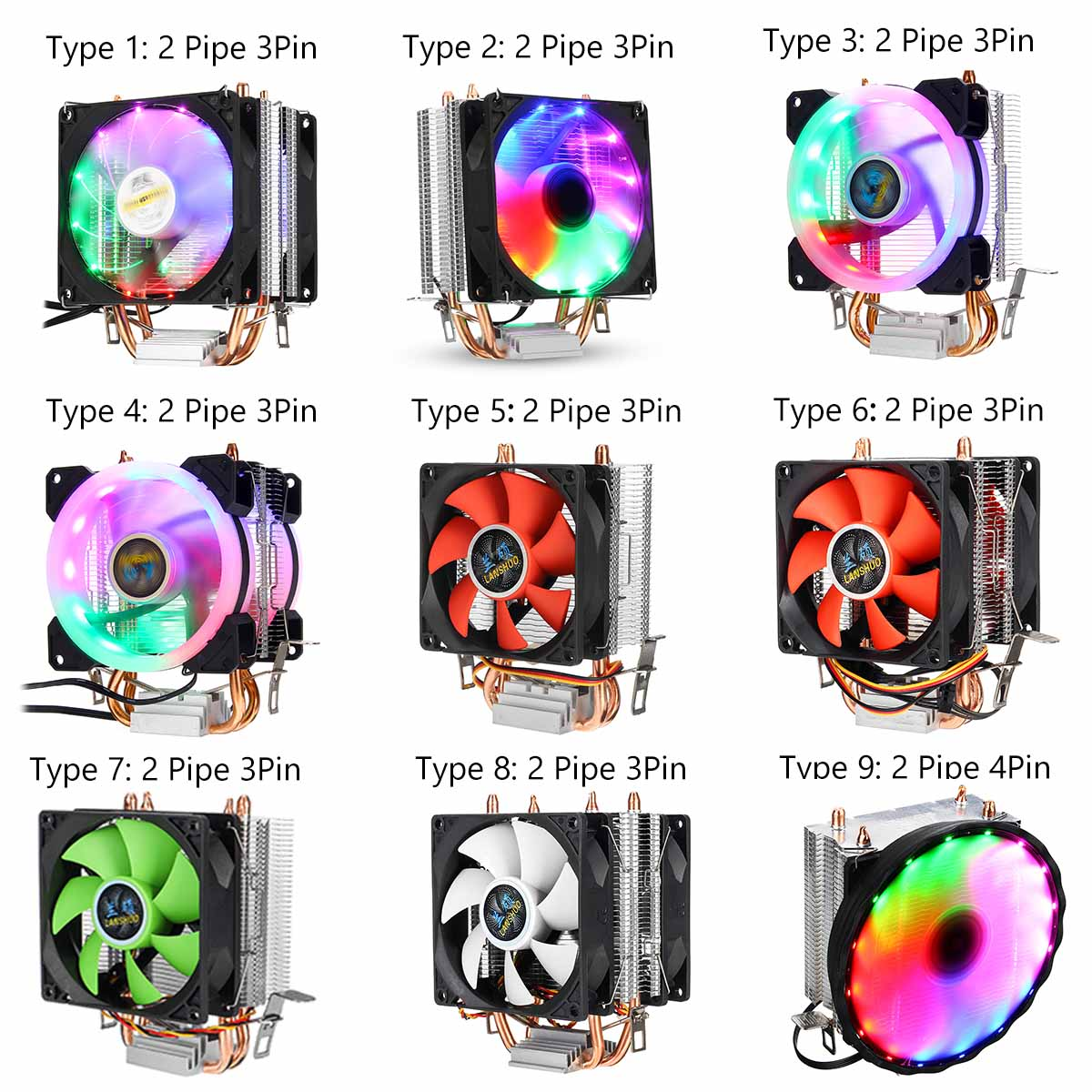 DC 12V 3/4Pin CPU Cooler Fan Colorful Backlight 90mm CPU Cooling Fan PC Heatsink Cooler for Intel/AMD For PC Computer Case Fan image