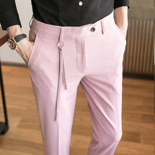 2020 Spring British Style Suit Slim Fit Solid Formal Wear Business Mens Dress Pants High Quality Casual Trousers Men(China)
