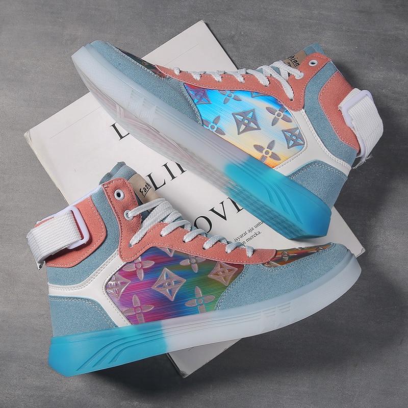 2020 Designer Men High Top Walking Shoes Non-Slip Colorful Platform Fashion Zapatillas Sports Students Leather Mesh Sneakers
