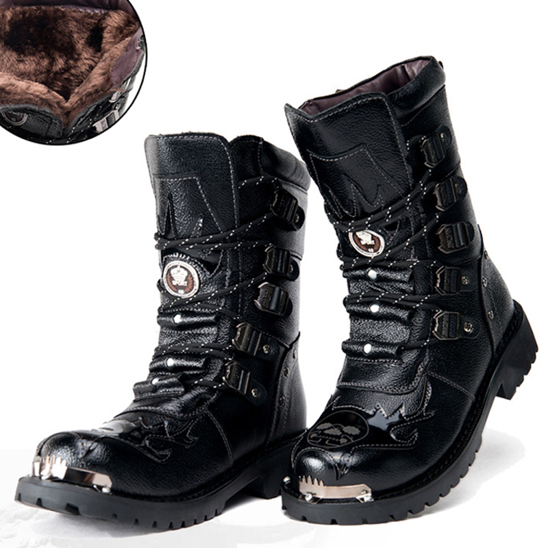 Motorcycle Boots Male Shoes Army Boots Men Military Boots Leather Black Cowboy Black Metal Gothic Punk Martin Boots Work Boots46