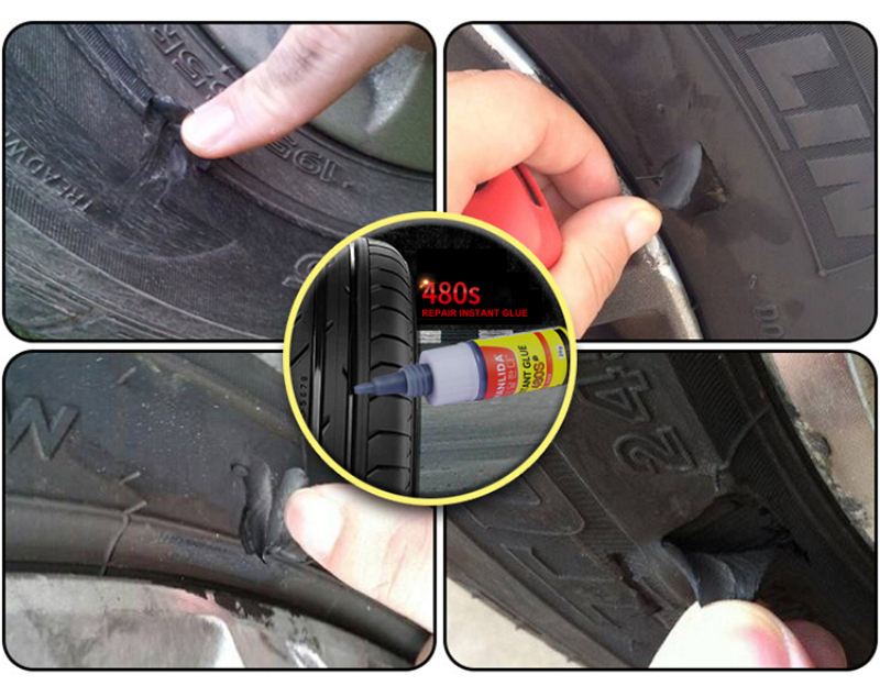 480S Black Adhesives Sealers Super Caulk Car Rubber Repair Tire Glue Window Speaker Seal Tire Repair Glue Mighty Tire RepairGlue