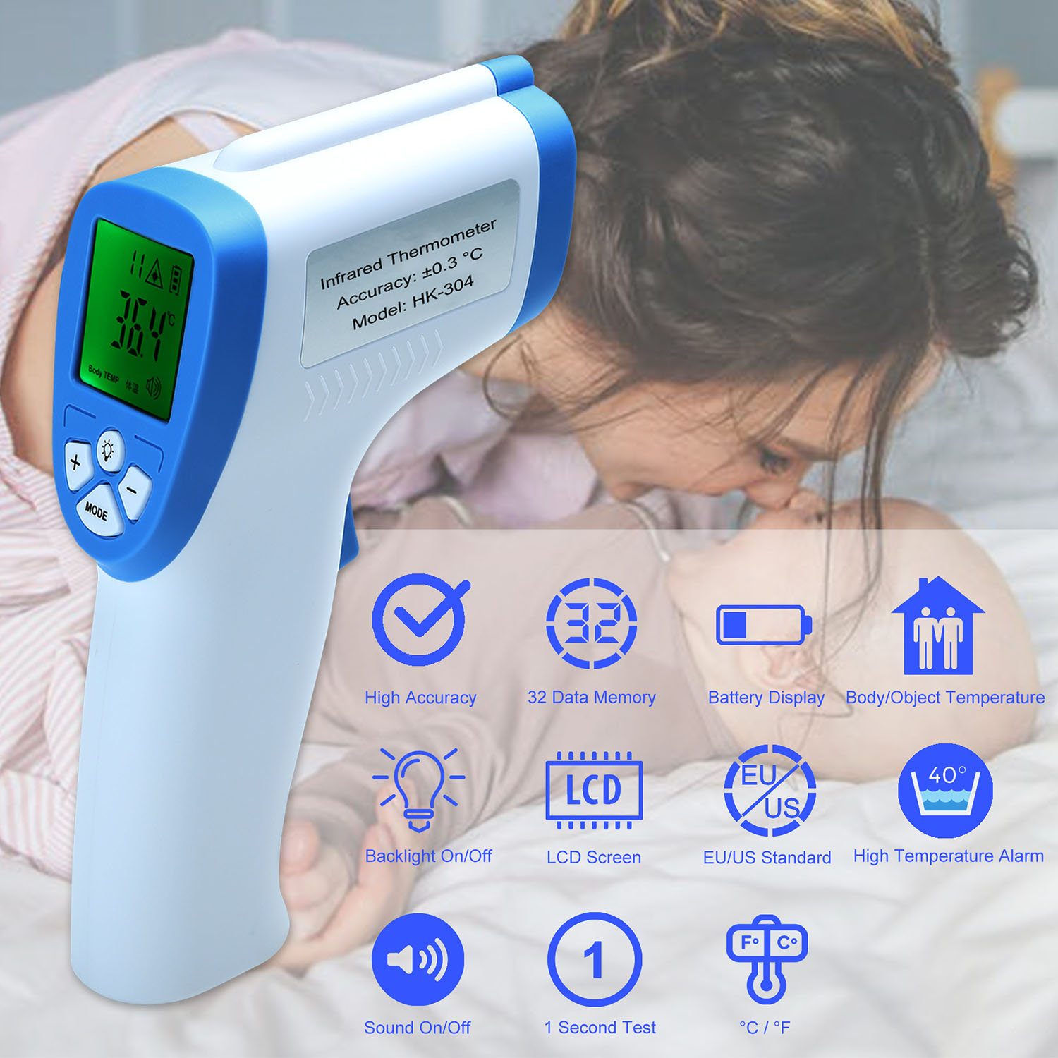Baby Adult Digital Infrared Termometer Non-contact Forehead Thermometer for  Temperature Gun Temperature Measurement Meter