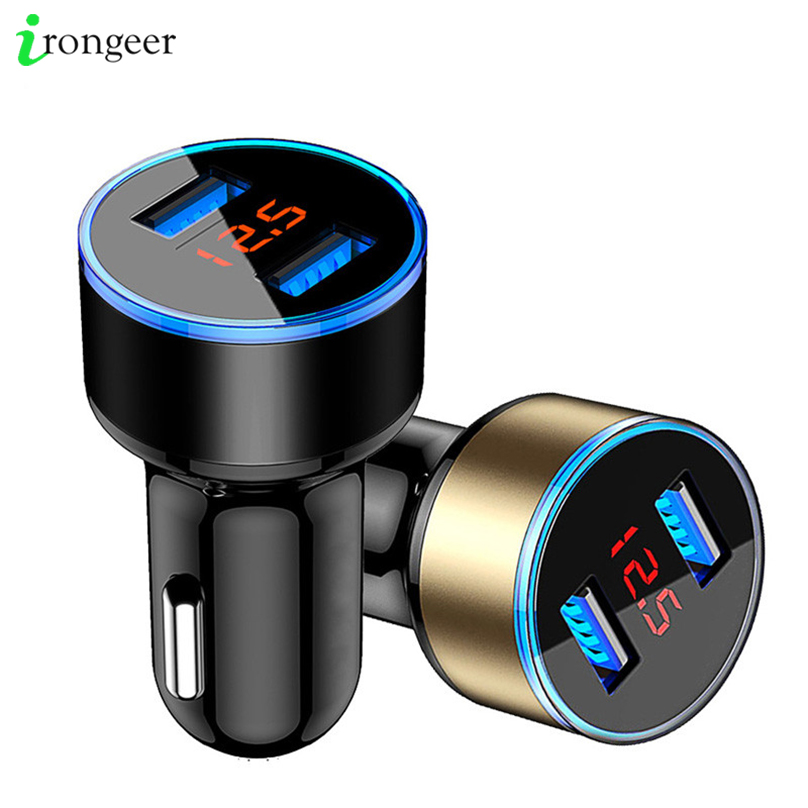 3.1A 5V Dual USB Car Charger With LED Display Universal Phone Car-Charger for Samsung S10 Plus S9 S8 iPhone XS X 7 8 Plus Tablet