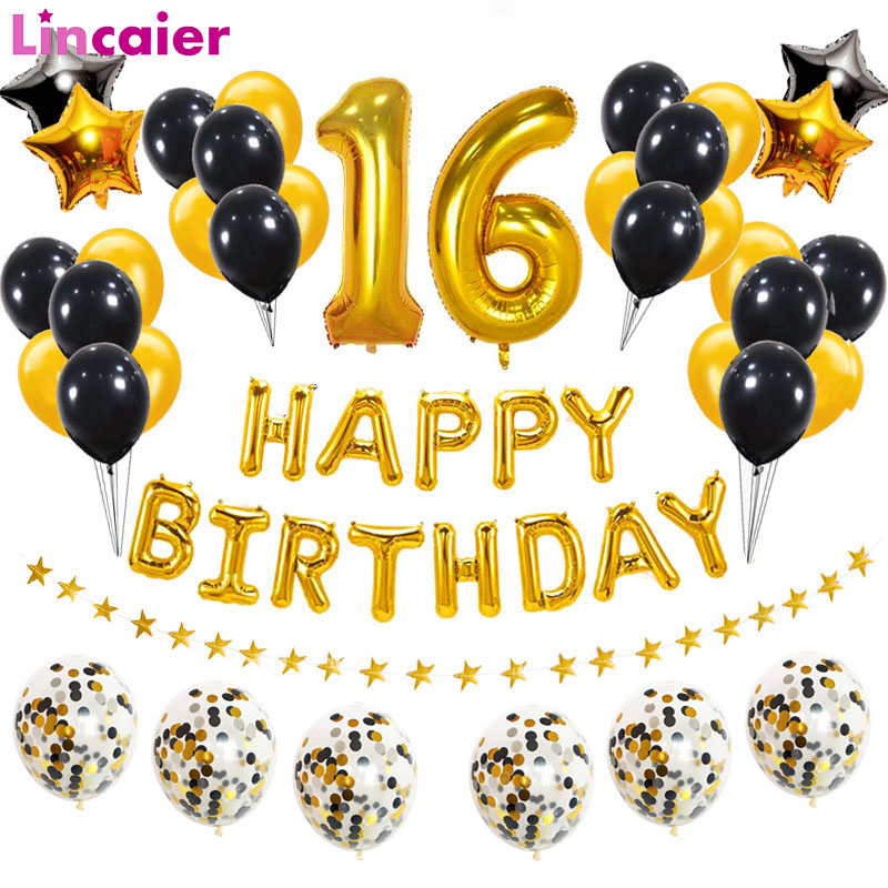 38pcs Number 16 Birthday Balloons 16th Happy Birthday 16 Years Party Decorations Gold Black 61 61th Man Woman Adult Supplies Ballons Accessories Aliexpress