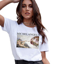 Sondirane Fashion Michelangelo Sistin T-shirts Women Harajuku Ulzzang Tumblr Kawaii Femme T Shirt Casual Tops Tee Vintage Tops(China)