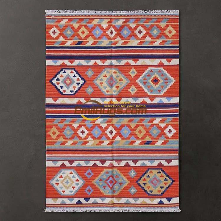 Bohemian Mediterranean Style Lattice Karim Kilim Rug / Carpet Living Room Coffee Table Gc137-60yg4