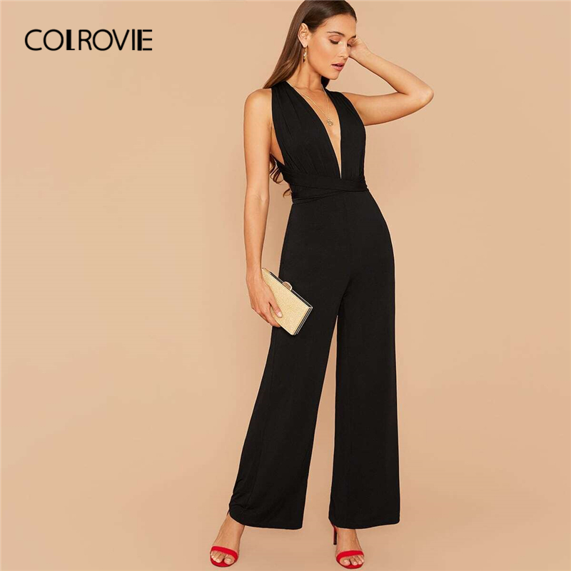 COLROVIE Black Multi Way Open Back Wide Leg Jumpsuit High Waist Solid Jumpsuits Women 2020 Spring Backless Halter Sexy Jumpsuits