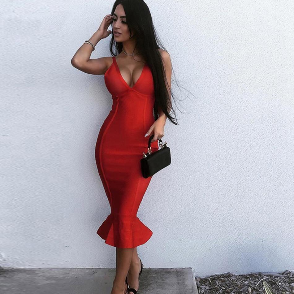 Adyce Summer Red Bandage Dress Women Sexy V-Neck Midi Mermaid Spaghetti Strap Club Dress Celebrity Evening Party Dress Vestidos