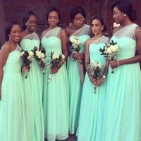 One Shoulder Mint Green Bridesmaid Dresses 2020 Pleats Floor Length Chiffon Long Maid Of Honor Dress Wedding Guest Gowns Cheap