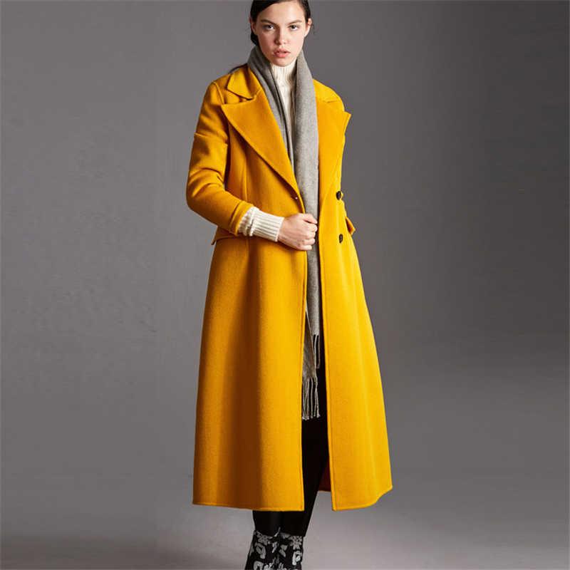 Высококачественная Минималистичная Женская куртка, европейская шерстяная куртка, Женское пальто 2019, Зимний новый костюм, двухсторонняя Шерстяная парка с воротником, W181