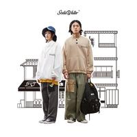 SODAWATER Men Retro Print Sweatshirt 2019 FW Streetwear Oversize Couple Sweatshirt With Pocket Harajuku Stand Collar Top 94409WS