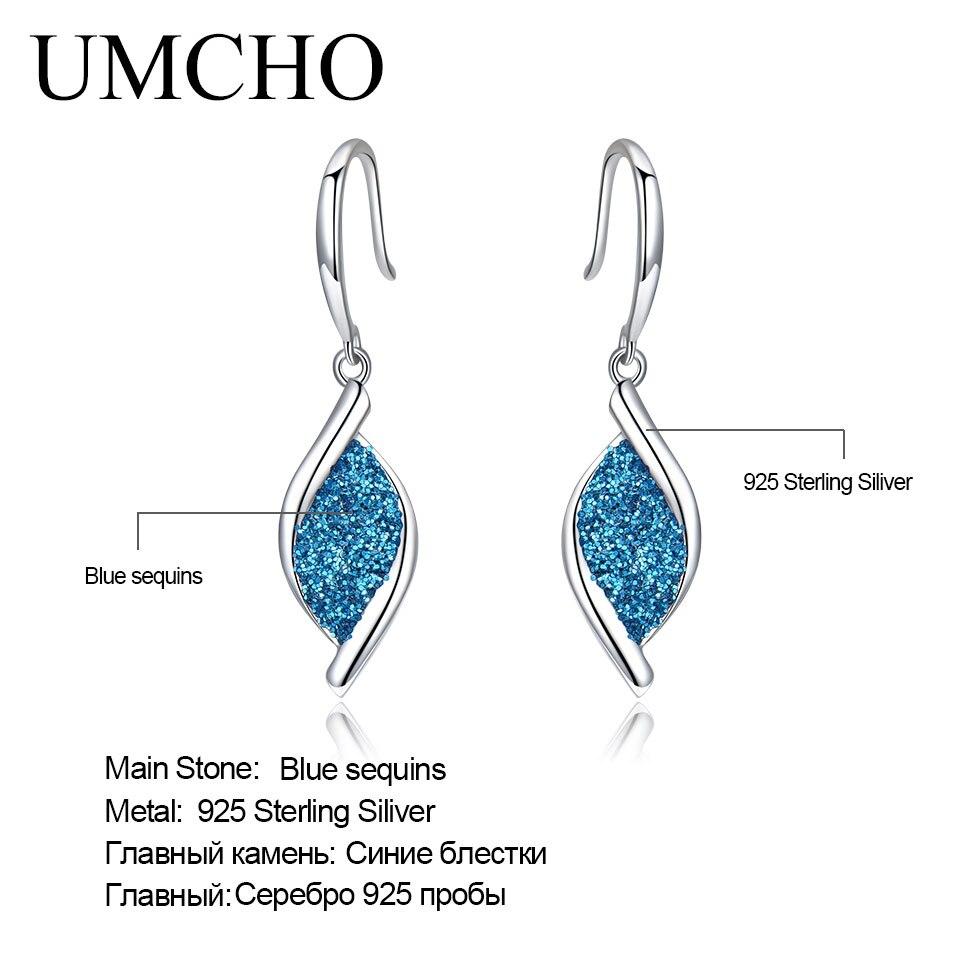 UMCHO 925 Sterling Silver Earrings Blue Color Glitter Spiral Leaf Drop Earrings For Women Party Gift Korea Fashion Jewelry