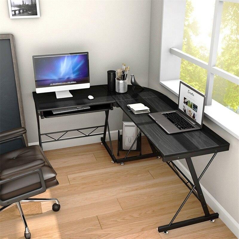 65 L Shape Computer Desk Corner Table Space Saving Home Office Wood Black
