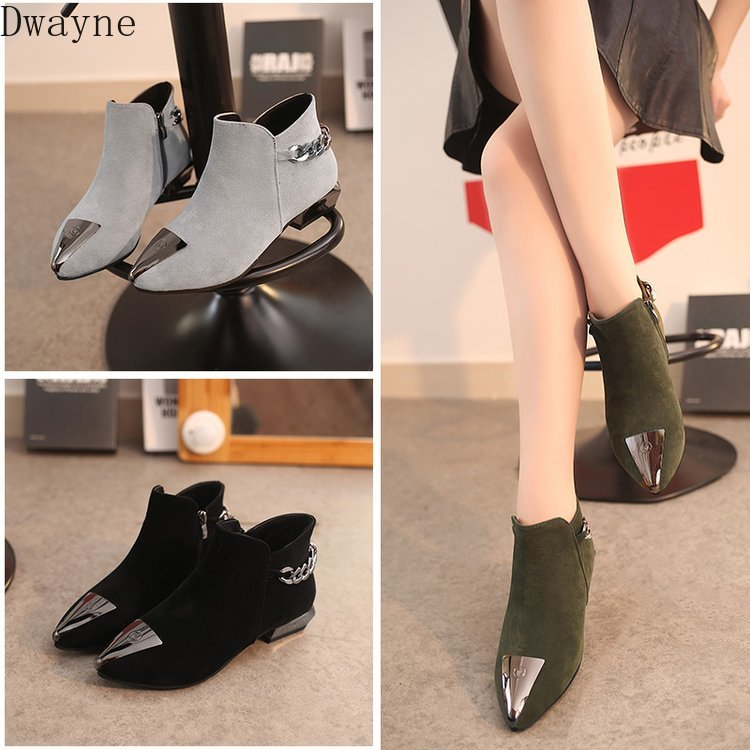 Women's Cotton Shoes Fall and Winter 2019 New Tip Iron Head Grinded Shoes Rough-heeled Martin Boots Low-heeled Chelsea Boots 25